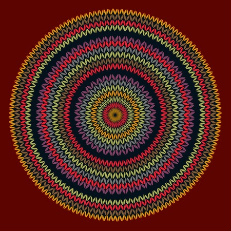 african culture: Style Circle Simple Color Vector Needlework Background, Ornamental Round Knitted Pattern