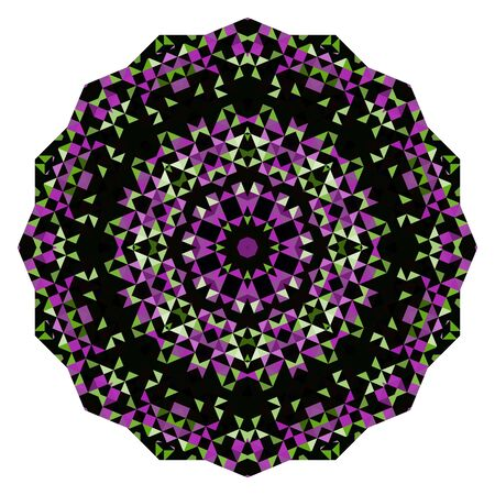 dominant: Abstract Flower. Creative Colorful style vector wheel. Lilac Violet Green Pink White Black Dominant Color Illustration