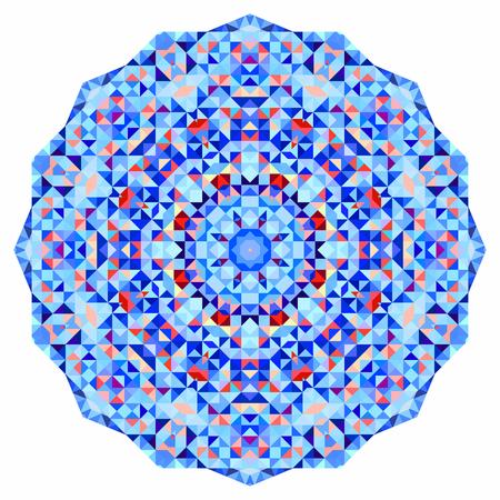colored: Abstract colorful circle backdrop. Geometric vector mandala. Mosaic banner of geometric shapes
