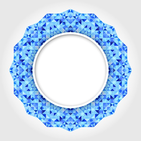 round: Abstract White Round Frame with Blue Digital Border Illustration