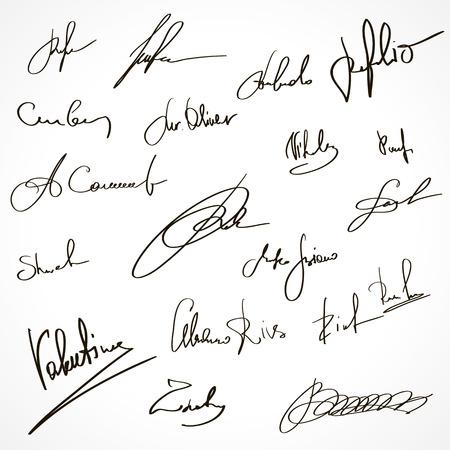 signatures: Set of imaginary signatures. Vector Illustration