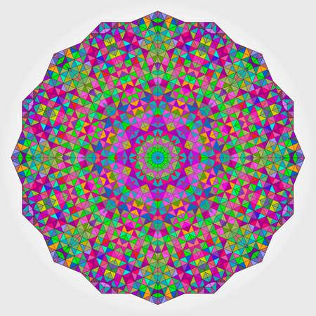 background kaleidoscope: Colorful Circle Kaleidoscope Backdrop. Mosaic Abstract Flower of Geometric Shapes. Red Green Orange Purple Lilac Blue Violet Magenta Colour Round Shape Background