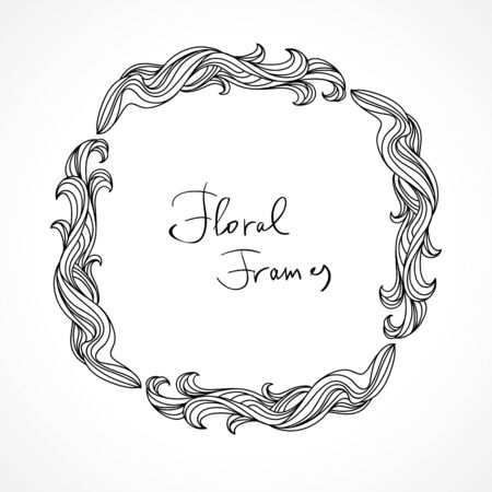 Floral frame with hand-drawn natural graphic elements