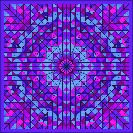 tapis: Abstract Colorful Digital Decorative Flower Star. Geometric Contrast Line Trendy Banner. Blue Violet Artistic Backdrop. Autumn Color