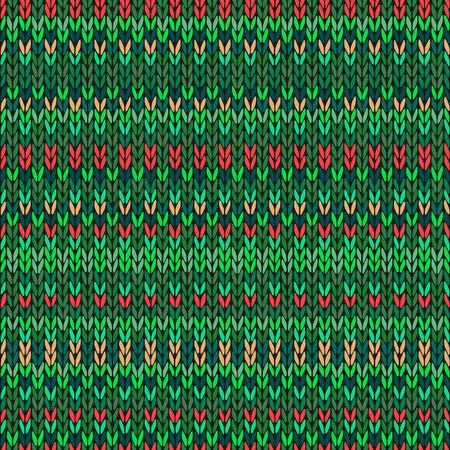 christmas plaid: Vector Needlework Background, Red Orange Green Ornamental Knitted Pattern Illustration