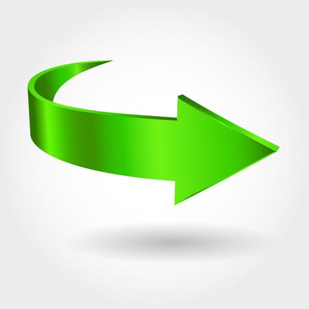 flèche verte et fond blanc. Symbole du mouvement