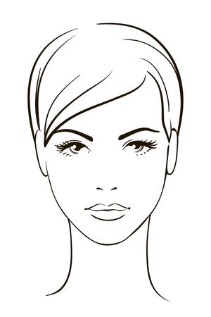 Mladá žena tvář Ilustrace