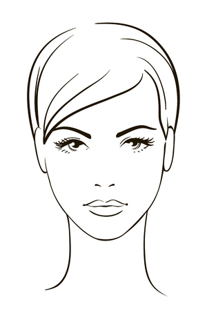 black and white line drawing: Young woman face