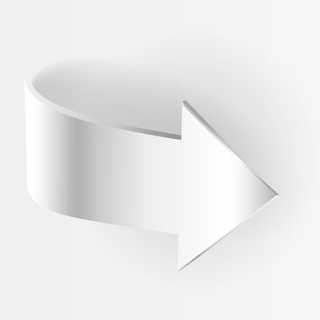 3 point perspective: White arrow. Symbol of motion business concept Illustration