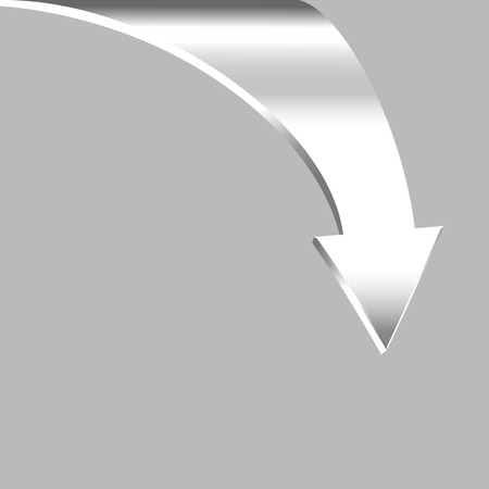3 point perspective: Arrow Points Down. White Silver Metal Color.