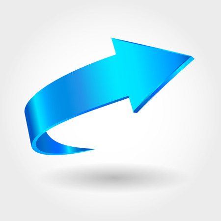 Blue arrow and white background. Symbol of motion Vectores