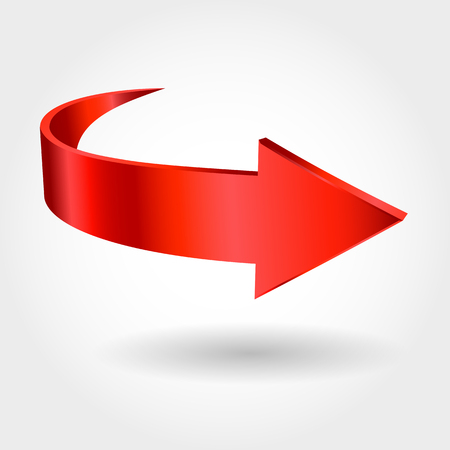 Red arrow and white background. Symbol of motion
