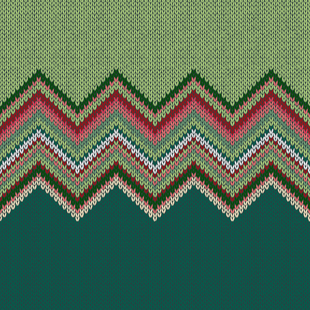 weave: Seamless ethnic geometric knitted pattern. Style green white red background Stock Photo