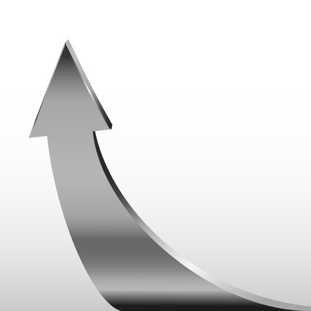 3 point perspective: Silver arrow and white background