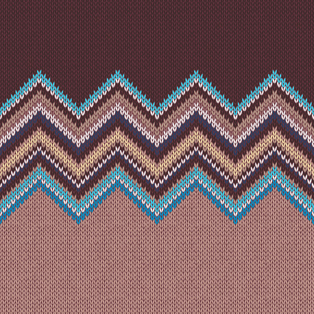 wave ornament: Seamless knitting pattern with wave ornament in brown beige blue white yellow color