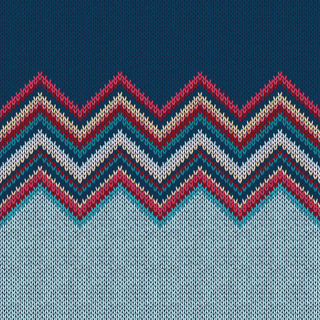 warm clothes: Seamless knitting Christmas pattern with wave ornament in red blue white yellow color
