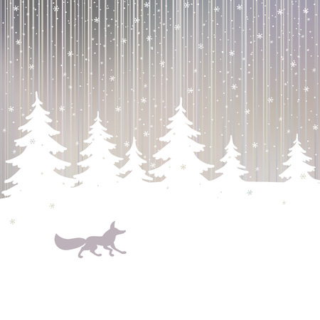 spruce tree: Christmas background with fox and winter spruce tree in evening winter forest. Vector card