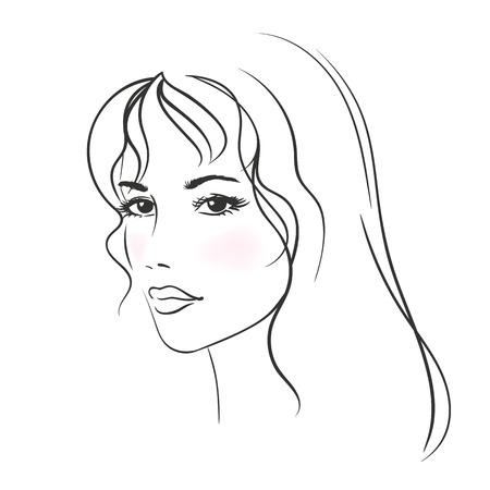 tatouage sexy: Belle jeune femme avec de longs cheveux blonds. Illustration