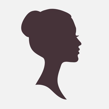 gesicht: Frau Gesicht dunkle Silhouette mit stilvoller Frisur