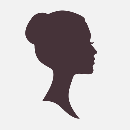 profile silhouette: Woman face dark silhouette with stylish hairstyle