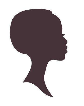 menina: Silhueta da face da mulher africano.