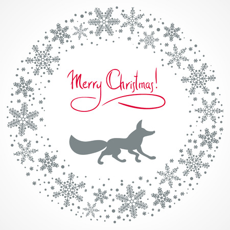 bonny: Christmas snow garland background with fox silhouette