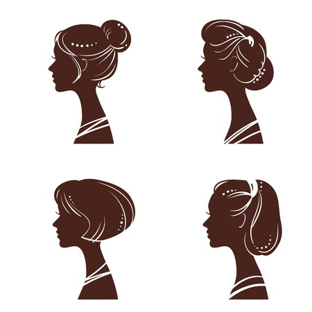 woman lips: Four silhouettes of womens heads with beautiful stylized haircut Illustration