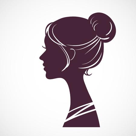 女性のシルエットの美しい様式化された髪型で頭