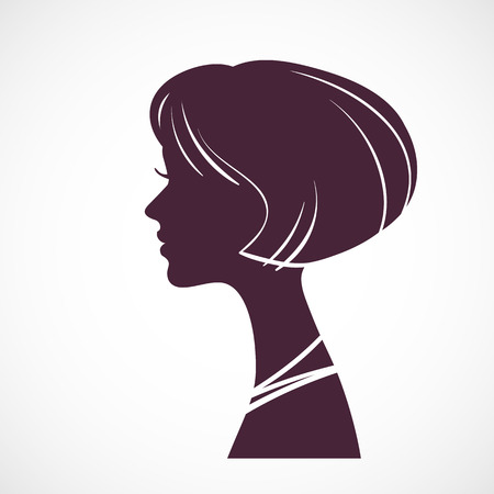 periwig: Girl silhouette head with beautiful stylized haircut Illustration