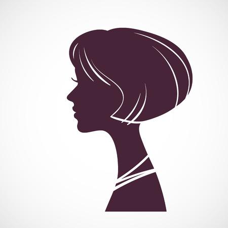 peruke: Girl silhouette head with beautiful stylized haircut Illustration