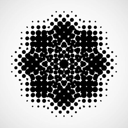 halftone dots: Halftone snowflake. Abstract black and white isolated modern design element