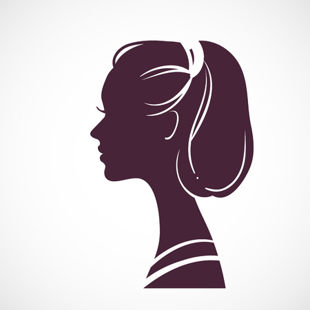 periwig: Women silhouette head with beautiful stylized haircut