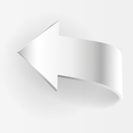 3 point perspective: White arrow points backward and grey background. Symbol of motion return