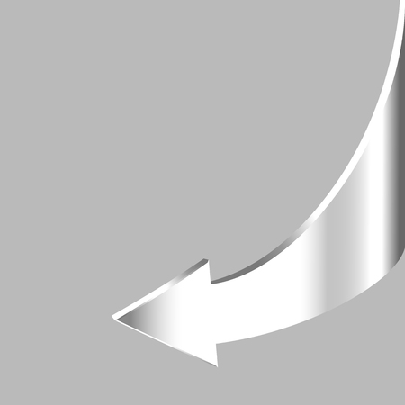 return: White brilliant arrow points backward and grey background. Symbol of motion return Illustration