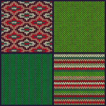 red green: Seamless Knitted Pattern. Set of Christmas Samples. Collection of Red Green White Color Winter Backgrounds