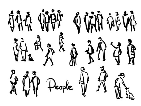 Casual People Sketch. Outline hand drawing illustration