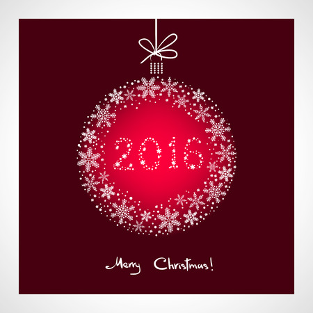 greeting season: Merry Christmas and Happy New Year 2016. stylized red ball with snowflakes. Season greeting card template Illustration