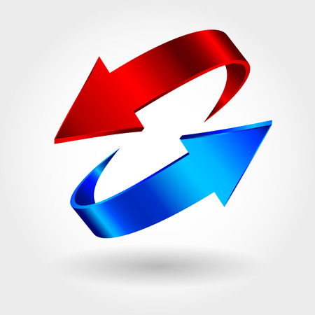 two dimensional shape: Red and blue arrows are moving towards. Arrows sign isolated on white