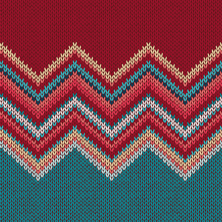 Seamless Knitting Pattern With Wave Ornament In Red Blue White