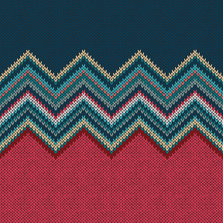 wave ornament: Seamless knitting Christmas pattern with wave ornament in red blue white green color