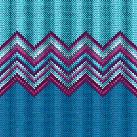 knit: Seamless knitted pattern. Style blue rpurple christmas background Illustration