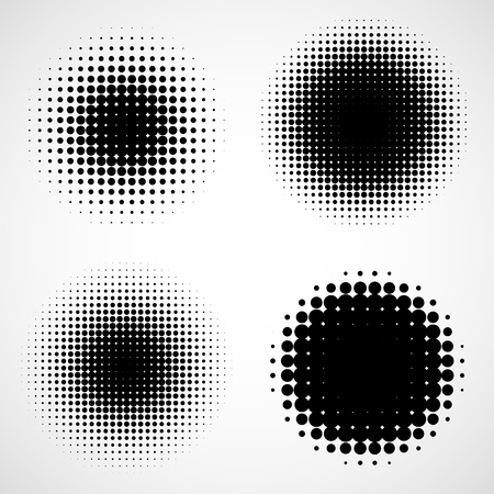 halftone dots: Abstract Halftone Backgrounds. Set of Isolated Modern Design Element. Black and White Texture Illustration