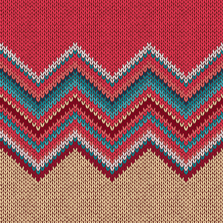 wave ornament: Seamless knitting pattern with wave ornament in red blue white yellow color
