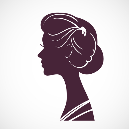 periwig: Women silhouette head with beautiful stylized hairstyle Illustration
