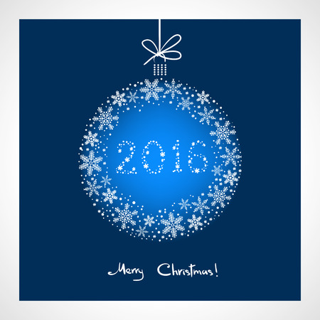 greeting season: Merry Christmas and Happy New Year 2016. stylized blue ball with snowflakes. Season greeting card template