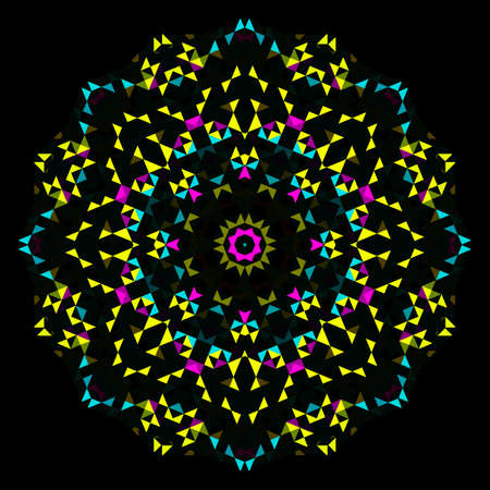 circle abstract: Abstract Geometric Bright Kaleidoscope Pattern. Circle Symmetric Design. Round Flower Ornament Illustration
