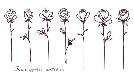 Roses. Sammlung von isolierten stieg Blume Skizze auf weißem Hintergrund. Die durchgezogene Linie kritzelte Design.