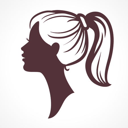 face profile: Woman face silhouette. Girl head. Profile silhouette of pretty female face with hair tail