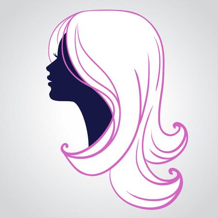 Cara de la mujer silueta aislados sobre fondo blanco. Hermosa mujer joven con el pelo largo y rubio abstracta Ilustración de vector