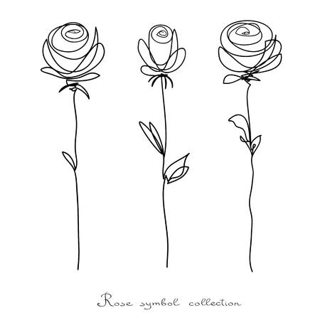 Rosas. Colección de aislados flor esbozo sobre fondo blanco. La línea continua garabatos diseño.